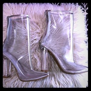 Clear heeled ankle boots